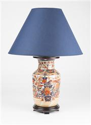 Sale 8350L - Lot 59 - A pair of hand painted polychrome urn lamps with floral motifs, with navy shades on timber base, total H 54cm, RRP $ 640