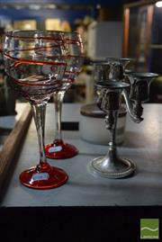 Sale 8518 - Lot 2321 - Pair of Coloured Wine Glasses together with Lidded Canister and Candelabra