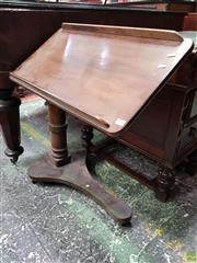 Sale 8576 - Lot 1026 - Victorian Mahogany Bedside Reading Table, on turned pedestal with triform base