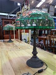 Sale 8601 - Lot 1137 - Pair of Large Leadlight Table Lamps