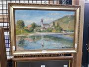 Sale 8699 - Lot 2025 - Rybar Marietta - Village by the Lake, 1905, oil on canvas, 29 x 41cm (frame size), signed and dated lower right