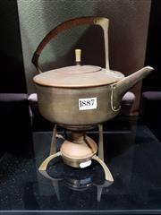 Sale 8908 - Lot 1018 - Art Nouveau Brass Kettle on Oil Burner Stand