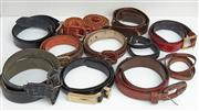 Sale 9081H - Lot 82 - A group of thick leather & snakeskin belts