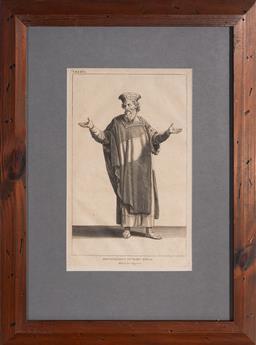 Sale 9127 - Lot 2067 - Antoine Augustin Calmet (1672 - 1757) - Melchizedek, King of Salem, Priest of El Elyon 30 x 19.5 cm (frame: 57 x 44 x 2 cm)