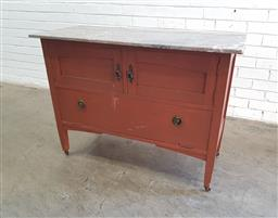 Sale 9129 - Lot 1065 - Marble top cabinet (h:79 x w:106 x d:46cm)