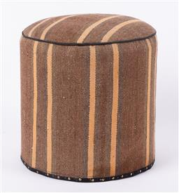 Sale 9199J - Lot 89 - A vintage kilim footstool of cylinder form in soft chocolate and orange, Height 49cm