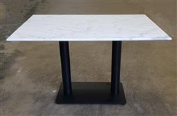 Sale 9191 - Lot 1058 - Double Pedestal Marble Top Table (120 x 80 x 76cm)