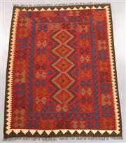 Sale 8438K - Lot 7 - Maimana Afghan Kilim Rug | 191x152cm, Pure Wool, Handwoven in Northern Afghanistan using durable local wool. Traditional slit weave ...