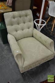 Sale 8460 - Lot 1004 - Late Victorian Armchair, upholstered in buttoned mint green fabric, with pleated borders