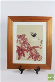 Sale 8521 - Lot 107 - Framed Painting of A Butterfly and Dragonfly
