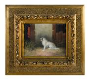 Sale 8586A - Lot 80 - Langlois, C 19th British School - Terrier in a Barn 20 x 25cm