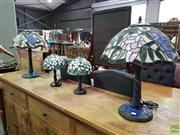 Sale 8601 - Lot 1147 - Two Pair of Leadlight Table Lamps