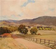 Sale 8642 - Lot 544 - Henry Hanke (1901 - 1989) - Cattles Grazing on the Farm, Grose Valley, 1947 59 x 64cm