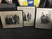 Sale 8690 - Lot 2075 - Set of (6) Honore Daumier Editioned Prints ( framed [4]/ mounted [2] )