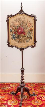 Sale 8804A - Lot 70 - A Victorian craved rosewood pole screen with floral needlework panel on barley twist pedestal, Height 147cm