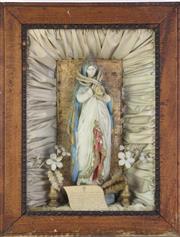 Sale 8905S - Lot 630 - A vintage oak framed shrine to the blessed virgin. 45 x 34cm