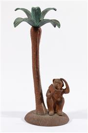 Sale 9007 - Lot 27 - A Cast Metal Lamp Base of A Monkey Reading Under A Palm Tree (repurposed to Candle Holder, H 38cm)