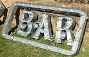 Sale 9066H - Lot 151 - A set of three capital letters (H 48cm, BAR, with steel surround (H 70cm, W 142cm). with plugs