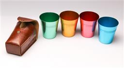 Sale 9114 - Lot 8 - A Set of leather cased enamel stacking cups