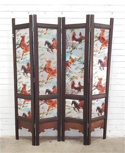 Sale 9108 - Lot 1062 - Horse themed 4 panel dressing screen (h:172 x 148cm)
