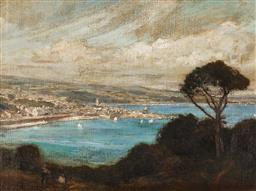 Sale 9125 - Lot 529 - Albert Henry Fullwood (1864 - 1930) - Harbour Scene, Penzance, Cornwall 50.5 x 68 cm (frame: 65 x 83 x 4 cm)