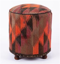 Sale 9199J - Lot 90 - A vintage kilim footstool of cylinder form and raised over timber bun feet in chocolate, purple, orange and dark brown, Height 52cm