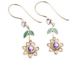 Sale 9213 - Lot 354 - A PAIR OF SUFFRAGETTE STYLE GEMSET DAISY EARRINGS; each a floral cluster centring a round cut amethyst to seed pearl surround suspen...