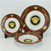 Sale 8332 - Lot 86 - Rosenthal Versace Medusa Red Dinner Setting for Six Persons