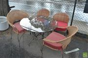 Sale 8383 - Lot 1385 - Five Piece Outdoor Setting incl. Round Glass Top Table & Two Pairs of Metal Framed Chairs