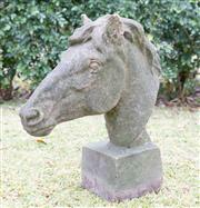 Sale 8586A - Lot 98 - An antique carved stoneware horse head, H 63cm