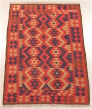 Sale 8438K - Lot 8 - Maimana Afghan Kilim Rug | 203x147cm, Pure Wool, Handwoven in Northern Afghanistan using durable local wool. Traditional slit weave ...