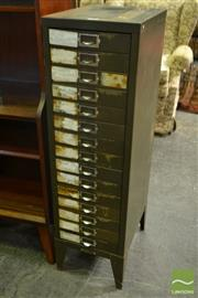 Sale 8528 - Lot 1088 - Fifteen Drawer Metal Filing Cabinet