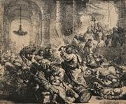 Sale 8665 - Lot 600 - After Rembrandt (1606 - 1669) - Untitled (Jesus and the cleansing of the Temple) 13.5 x 16.5cm