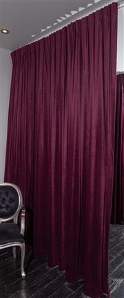Sale 8761A - Lot 16 - A pair of purple velvet drapes, Height of drop 285cm W x 360cm reserve