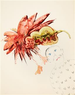 Sale 9116 - Lot 534 - Sidney Nolan (1917 - 1992) Bird & Man, 1982 ripolin on paper 70 x 54.5 cm (frame: 95 x 79 x 3 cm) signed lower left, signed and insc...