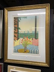 Sale 8995 - Lot 2093 - Artist Unknown, Cityscape through Window, screenprint, ed. a/p, frame: 85 x 67 x 3 cm, signed lower right