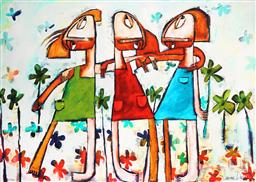 Sale 9150 - Lot 512 - JANINE DADDO (1959 - ) - Forever Friends 77 x 108 cm (frame: 99 x 130 x 3 cm)