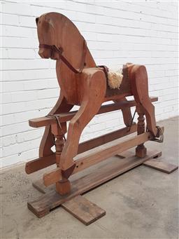Sale 9108 - Lot 1074 - Vintage timber rocking horse (h110 x w140 x d67cm)
