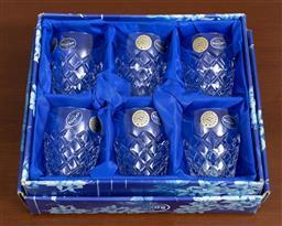 Sale 9140H - Lot 26 - A set of six Bohemian hand cut lead crystal tumblers, Height 8.5cm