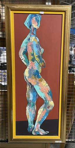 Sale 9139 - Lot 2037 - Valda Morris Standing Nude oil on board, frame: 101 x 45 cm, signed lower right