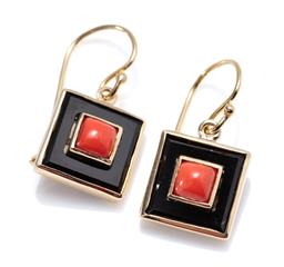 Sale 9213 - Lot 340 - A PAIR OF 9CT GOLD DECO STYLE ONYX AND CORAL  EARRINGS; each square top centring a cabochon coral to an onyx surround on a sheppherd...