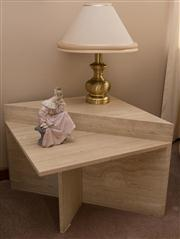 Sale 8313A - Lot 20 - A pair of step form travertine occasional tables, height 55, width & depth 70cm