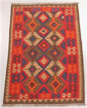 Sale 8438K - Lot 9 - Maimana Afghan Kilim Rug | 198x139cm, Pure Wool, Handwoven in Northern Afghanistan using durable local wool. Traditional slit weave ...