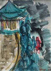 Sale 8633A - Lot 5034 - Elaine Haxton (1909 - 1999) - The Chinese Pagoda, 1969 14.5 x 29cm