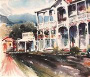 Sale 8682 - Lot 2041 - Joan Mors (1929 - ) - Nimbin Main Street near Lismore, watercolour, 30 x 36cm, signed lower right -