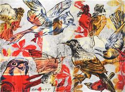 Sale 8791A - Lot 5014 - David Bromley (1940 - ) - The Birds 55 x 74.5cm (frame:79 x 99cm)