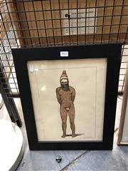 Sale 8856 - Lot 2032 - Ron Hardacre - Indigenous Man 29.5 x 21.5 cm