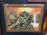 Sale 8914 - Lot 2088 - Artist Unknown - Thai Village Scene, oil