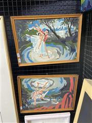 Sale 8995 - Lot 2011 - Pair of Paintings by Numbers of Ballerinas, 29 x 39cm