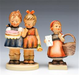 Sale 9093P - Lot 75 - Hummel Group with Birthday Cake and a Girl with Mail (Tallest 12.5 cm)